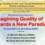 Workshop Webinar 1 of Reimagining Quality of Life Webinar Series